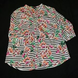 Elementz Floral and Striped Blouse
